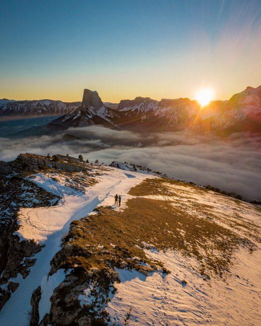 Le coucher de soleil sur le Mont Aiguille