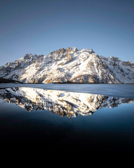 Reflet de la Meije sur le lac du Pontet