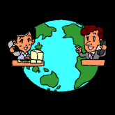 Imagem do planeta Terra e duas pessoas conversando por computador, ilustrando um bate-papo