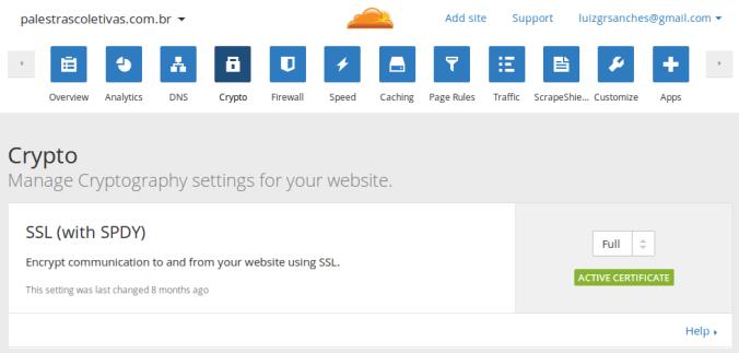 Opção de criptografia selecionada para o site