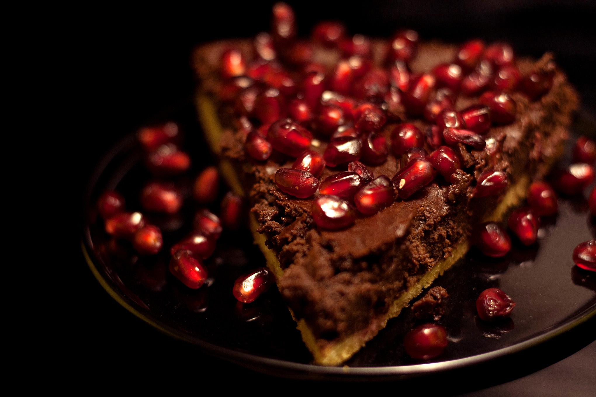 Schokoladentarte mit Granatapfel