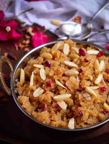 Sooji Badam Halwa Semolina Almond Pudding Indian dessert Festive food