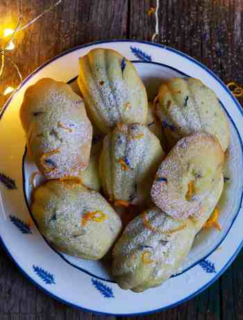Orange Madeleines w/ dried blue cornflowers French cake