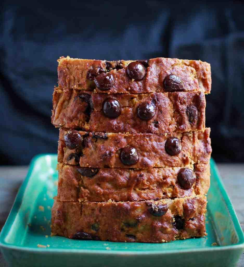 Pumpkin Banana Bread w/ walnuts & chocolate chips easy healthy wholegrain recipe