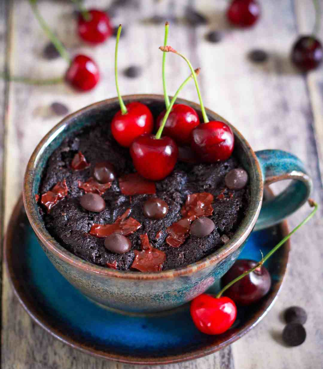 Chocolate Cherry Mug Cake Vegan Glutenfree Easy Recipe