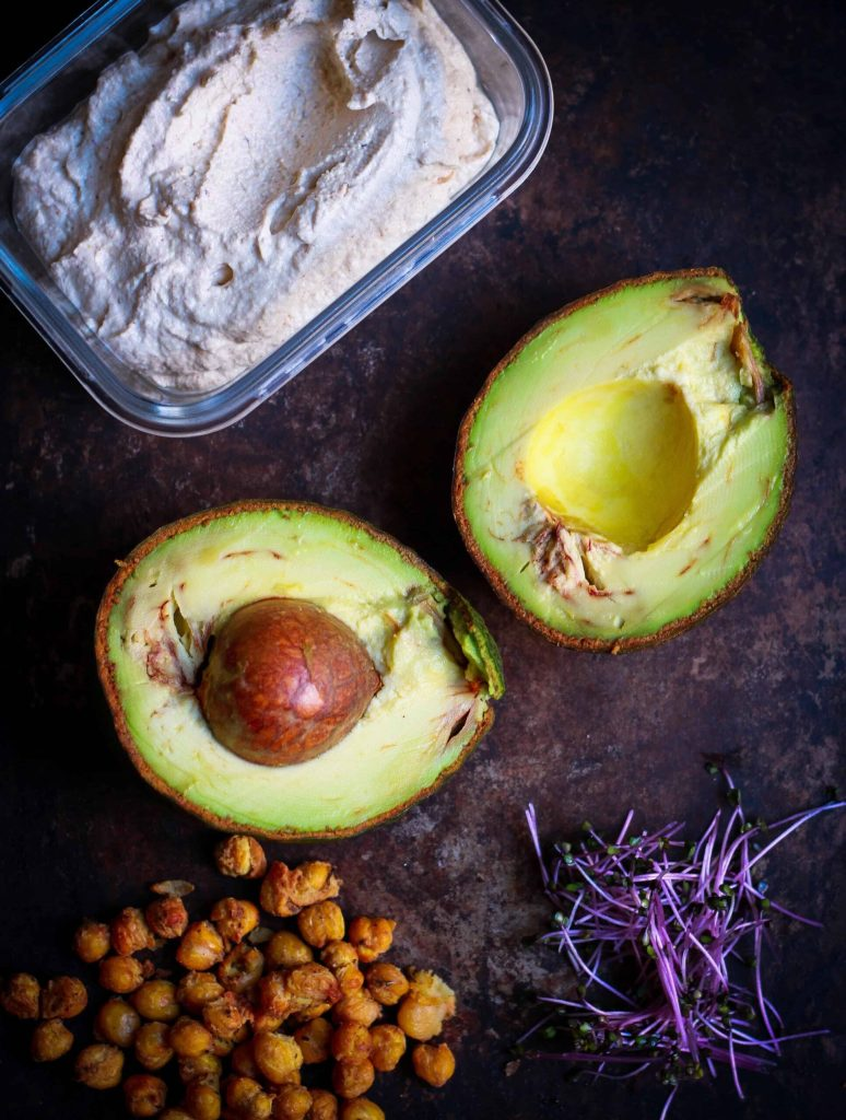 Toppings for Baked Sweet Potato - avocado, Cashew ricotta cheese, roasted chickpeas, microgreens