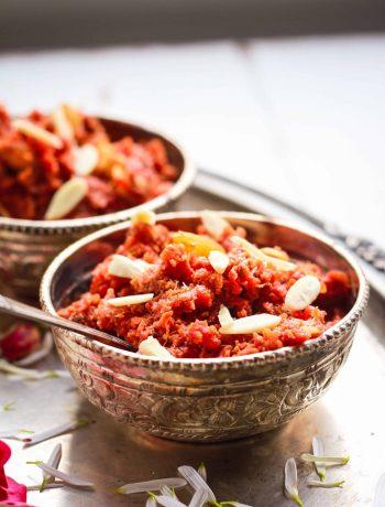 Gajar ka Halwa ( Carrot Halwa) vegan dairyfree glutenfree refined sugarfree Indian Dessert