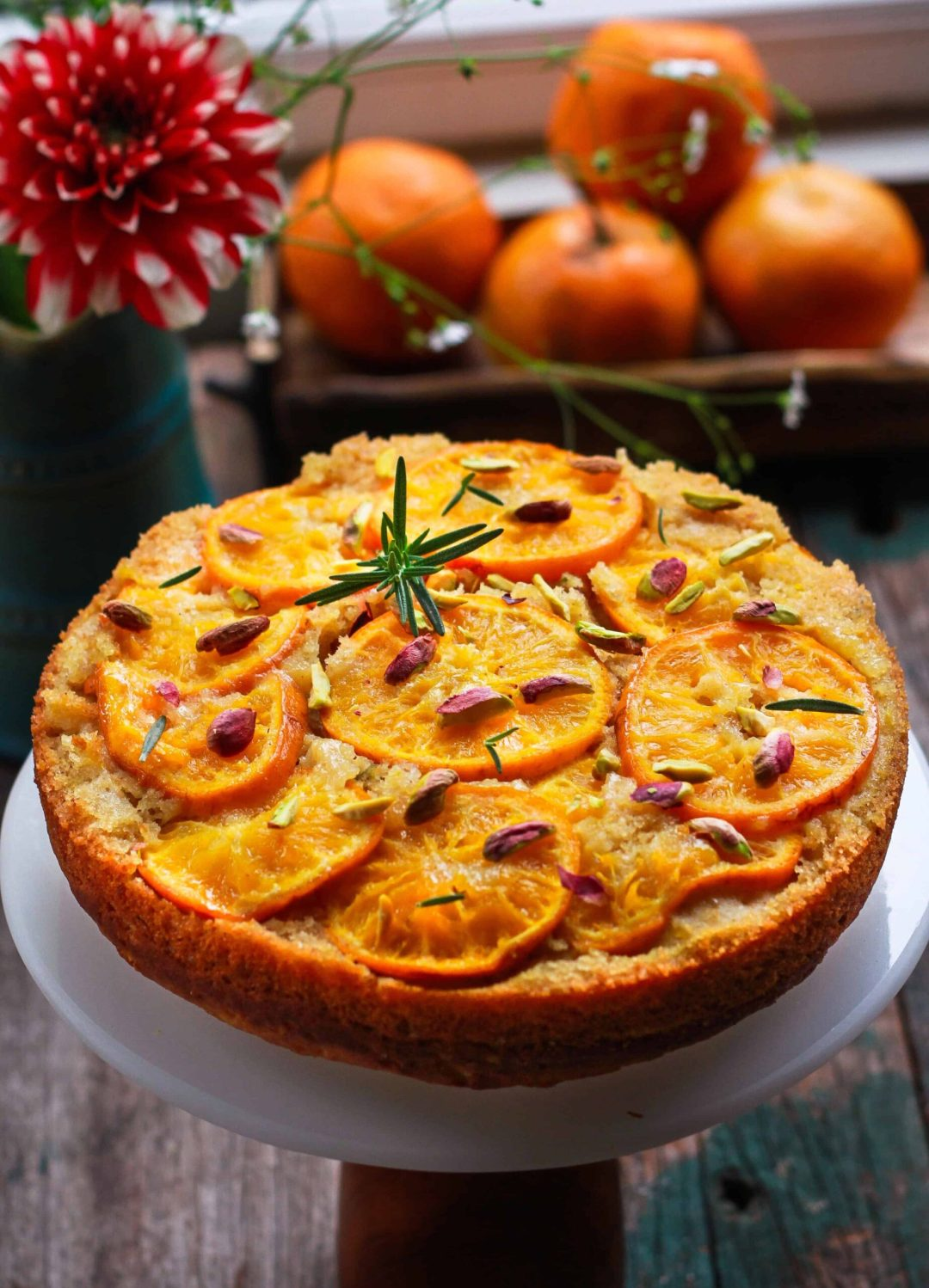 Orange Upside Down Cake wholegrain eggless baking