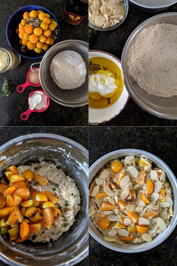 Process of making Easy Cape Gooseberry Almond Cake Eggless Wholegrain Baking