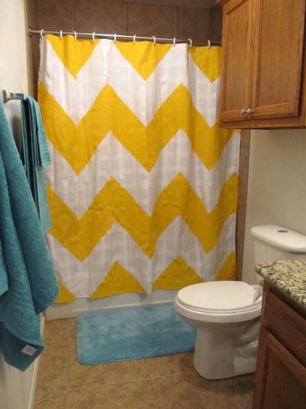 DIY Cheveron Stripe Shower Curtain
