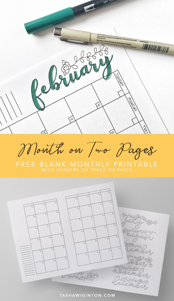 Free Month on Two Pages Planner Printable with header template to trace