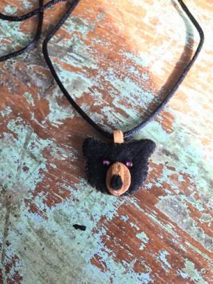 Makwa Necklace in Felt, Mooz Hide, Beads