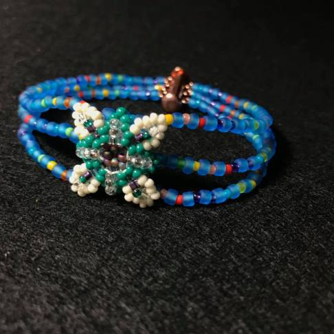 Patience in Bloom Strand Bracelet in Blues