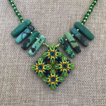 Green Diamond Patience in Bloom Necklace with Mooz Hide & Stone