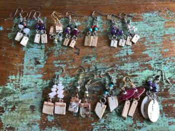 Birch Bark & Semi-Precious Stones Earrings