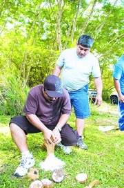 Coconut husking: Ray Flores gets himself ready to take over his partner John Chargualaf, in front, as they finish up first in the coconut husking and grinding competition. (Jonathan Abella/For Southern Weekly)
