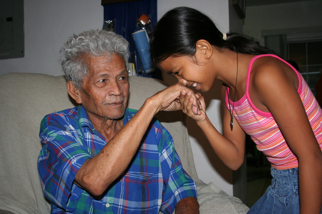 In Chamorro culture, the elders are highly respected and given acknowledgement by the younger generations by kissing the hands and saying 'Ñot, for the males.