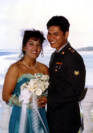 Michelle and Angelo on their wedding day