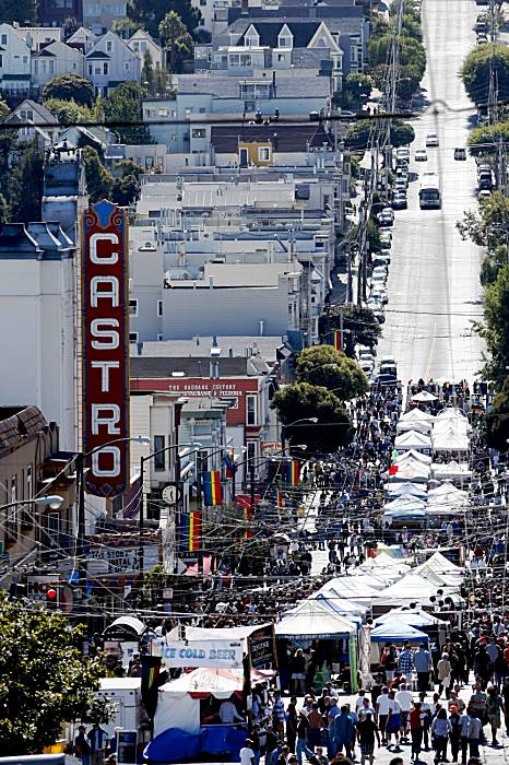 Hundreds gather along Castro Street for the Castro Street Festival on Sunday.  Photo: Lacy Atkins / The Chronicle