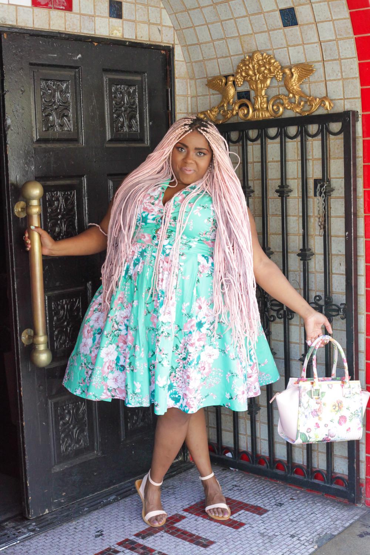 Retro Seafoam floral dress