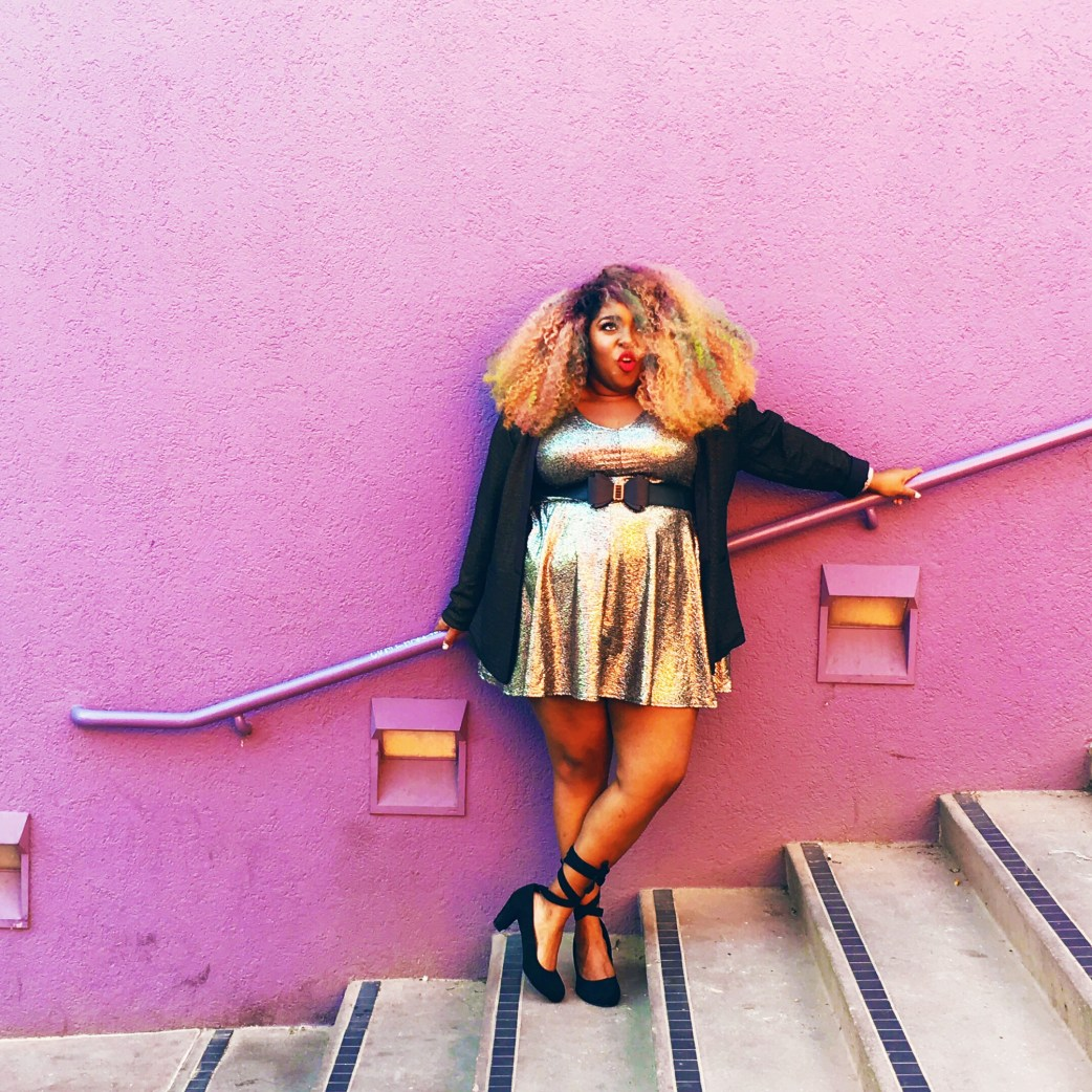 Amina Plus size Metallic skater dress