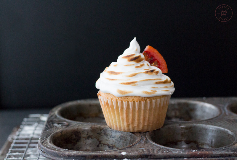 Blood Orange Cupcakes with Marshmallow Cream Frosting | Taste and Tipple