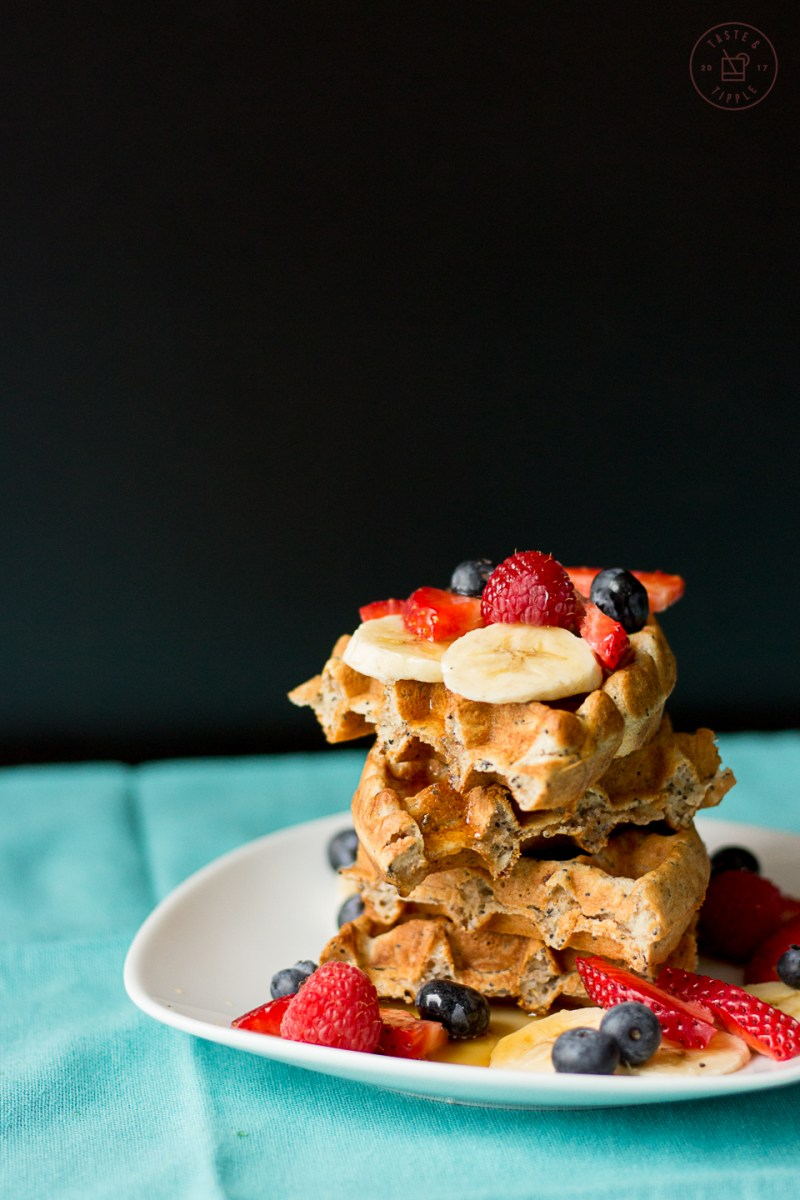 Banana Waffles with Brown Sugar Syrup | Taste and Tipple