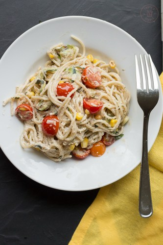 Goat Cheese Pasta Primavera | Taste and Tipple