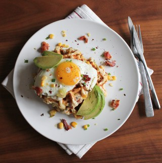 Cheesy Bacon and Corn Waffles with Eggs and Avocado | Taste and Tipple