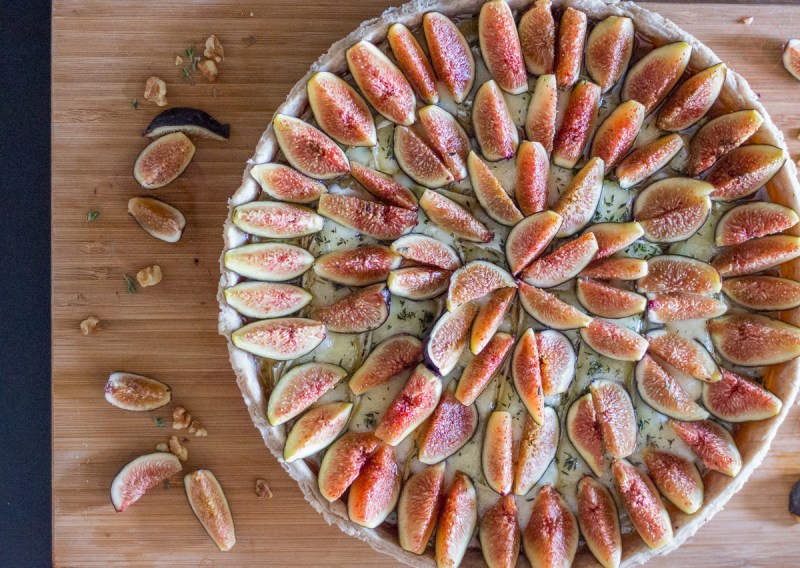 Warm Fig & Brie Tart with Walnut Crust | Taste and Tipple