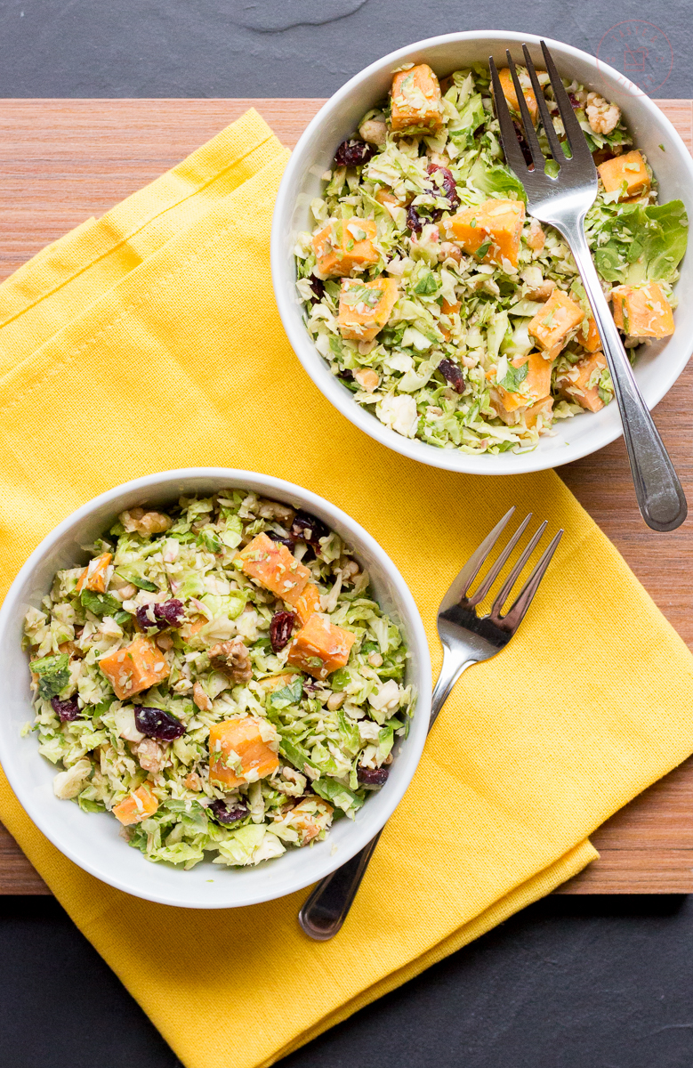 Maple Roasted Sweet Potato and Brussels Sprout Salad | Taste and Tipple