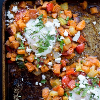 Mediterranean Vegetable Hash with Baked Eggs and Feta | Taste and Tipple