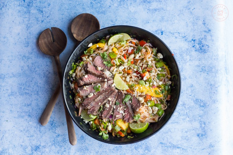 Thai Beef and Mango Salad on Vermicelli | Taste and Tipple