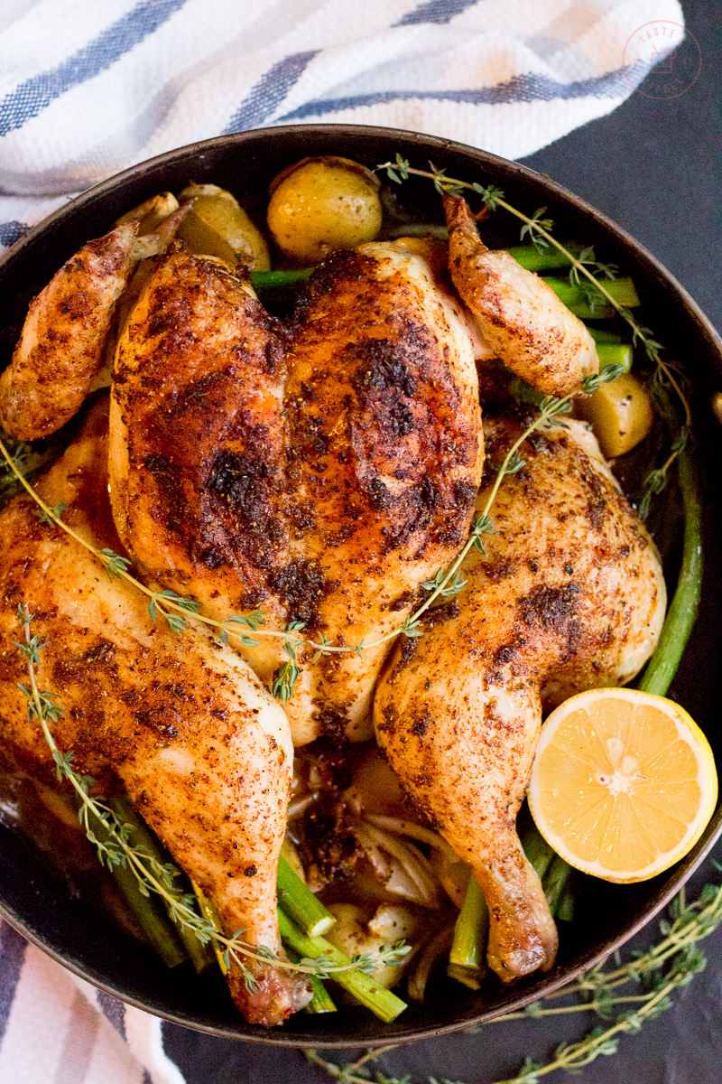 One-Pot Greek Roast Chicken with Potatoes & Asparagus | Taste and Tipple