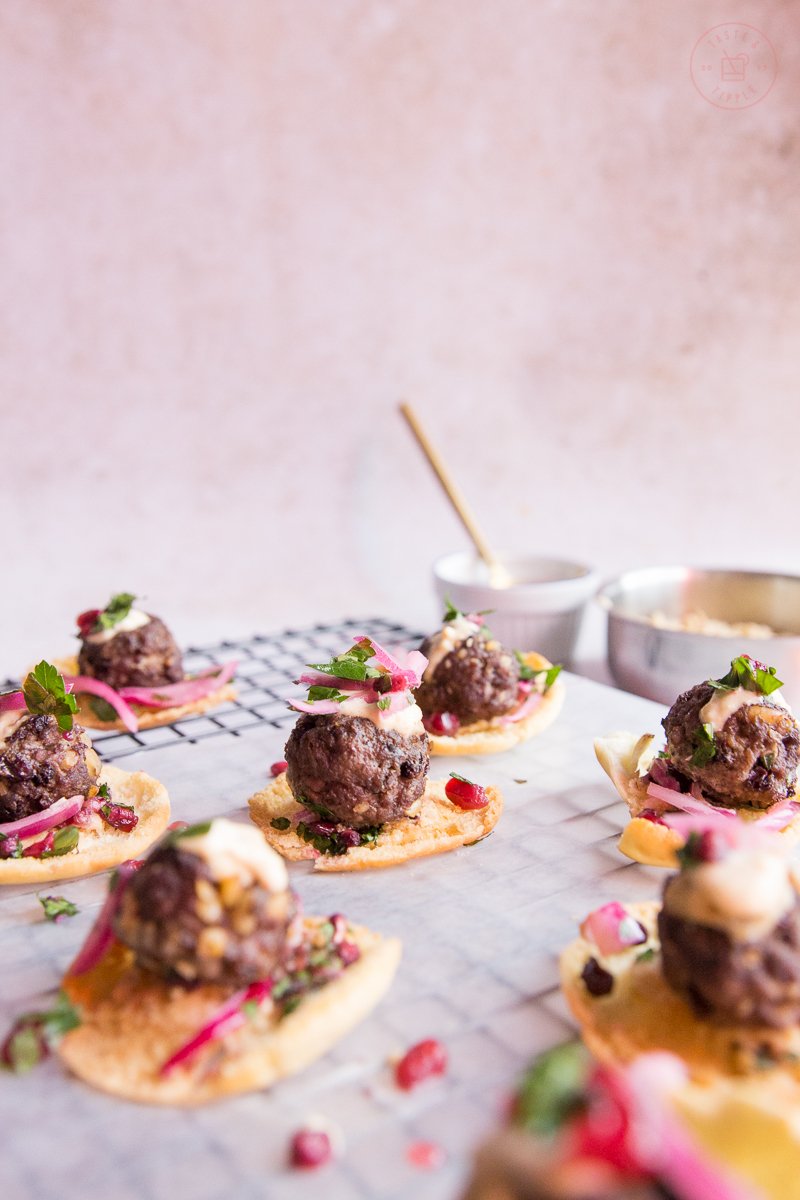 Middle Eastern Meatballs on Mini-Pita Crisps   Taste and Tipple