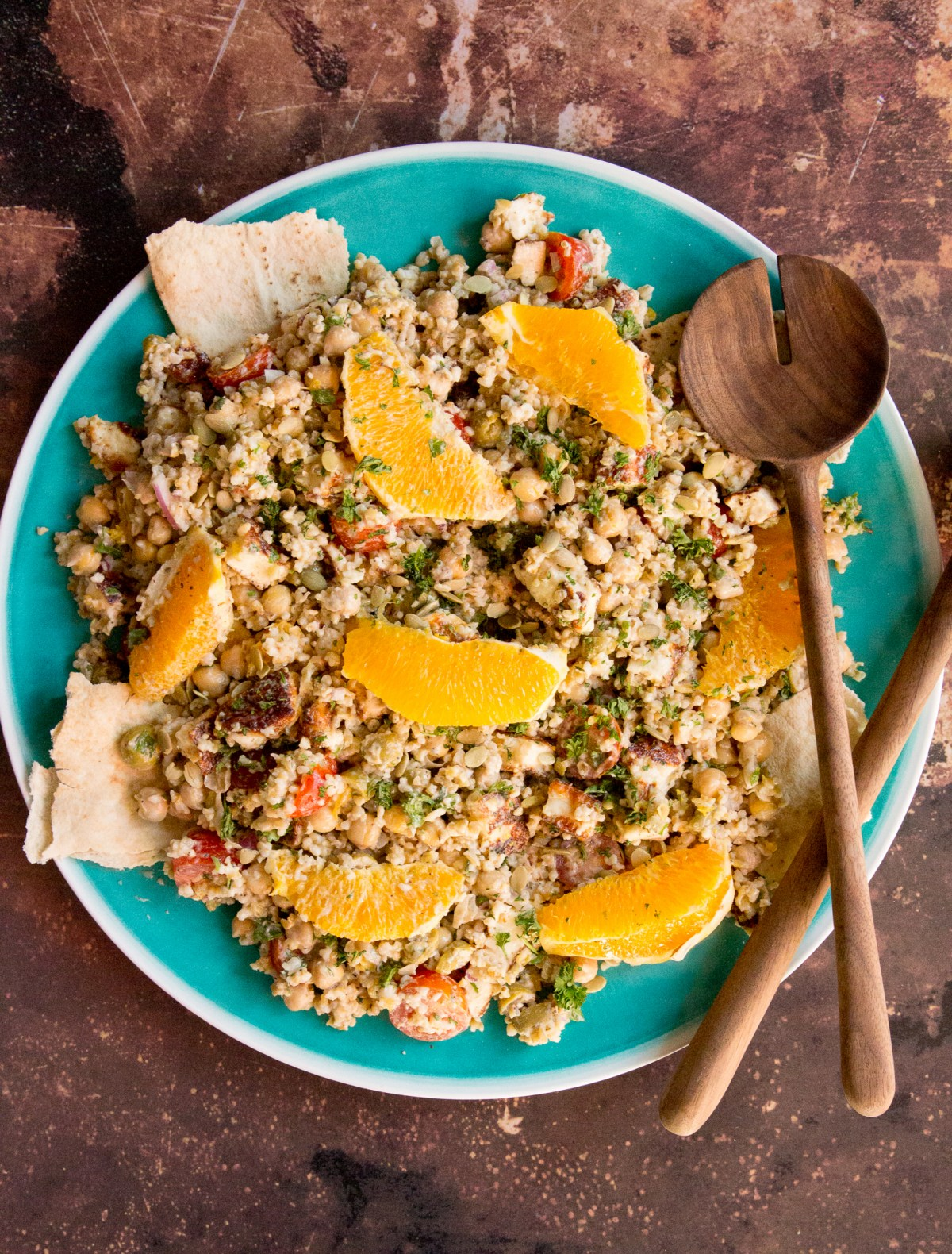 Freekeh Salad with Halloumi & Tahini Za'atar Dressing | Taste and Tipple