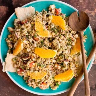 Freekeh Salad with Halloumi & Tahini Za'atar Dressing   Taste and Tipple