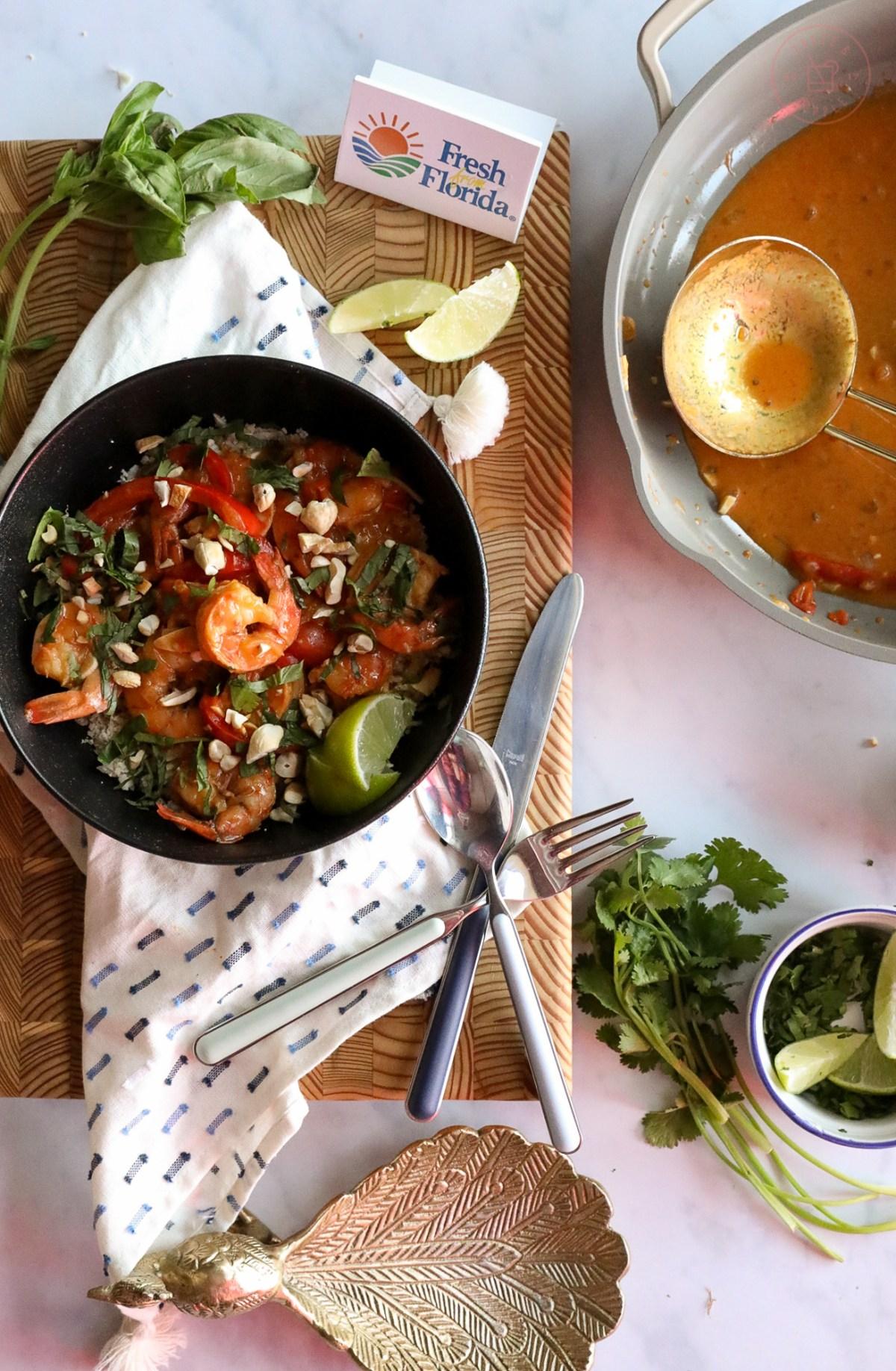 Thai Shrimp Curry on Cauliflower Rice | Taste and Tipple