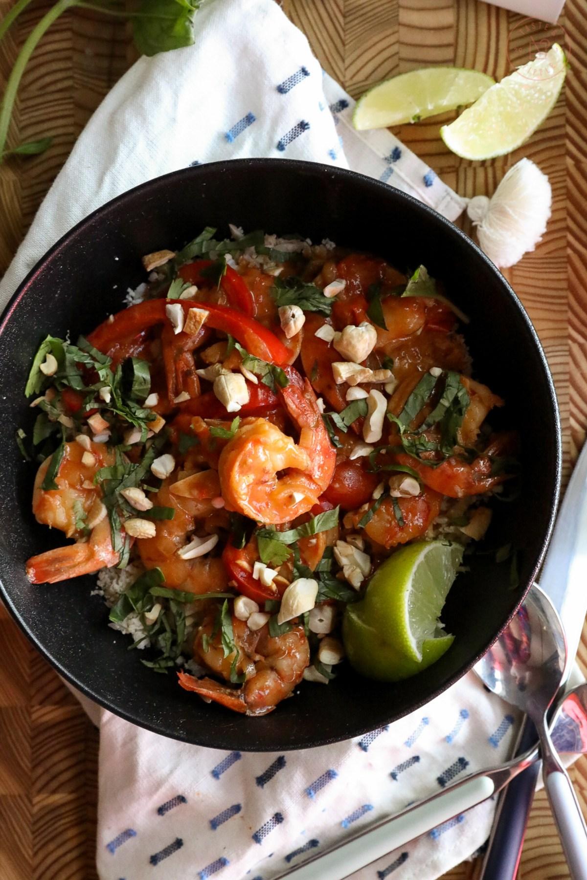 Thai Shrimp Curry on Cauliflower Rice | Taste and Tippl