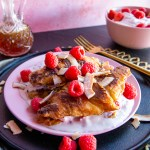 Raspberry Coconut Croissant French Toast with Honey Chamomile Syrup | Taste and Tipple