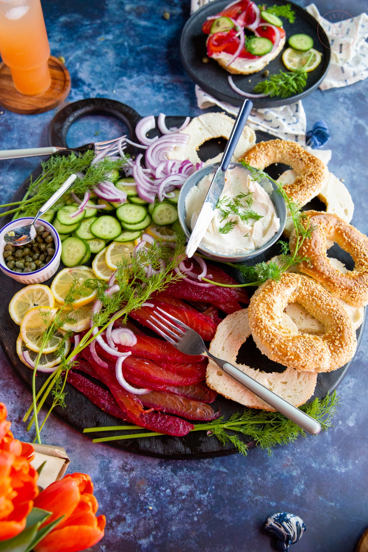 Beet-Cured Salmon Brunch Board | Taste and Tipple