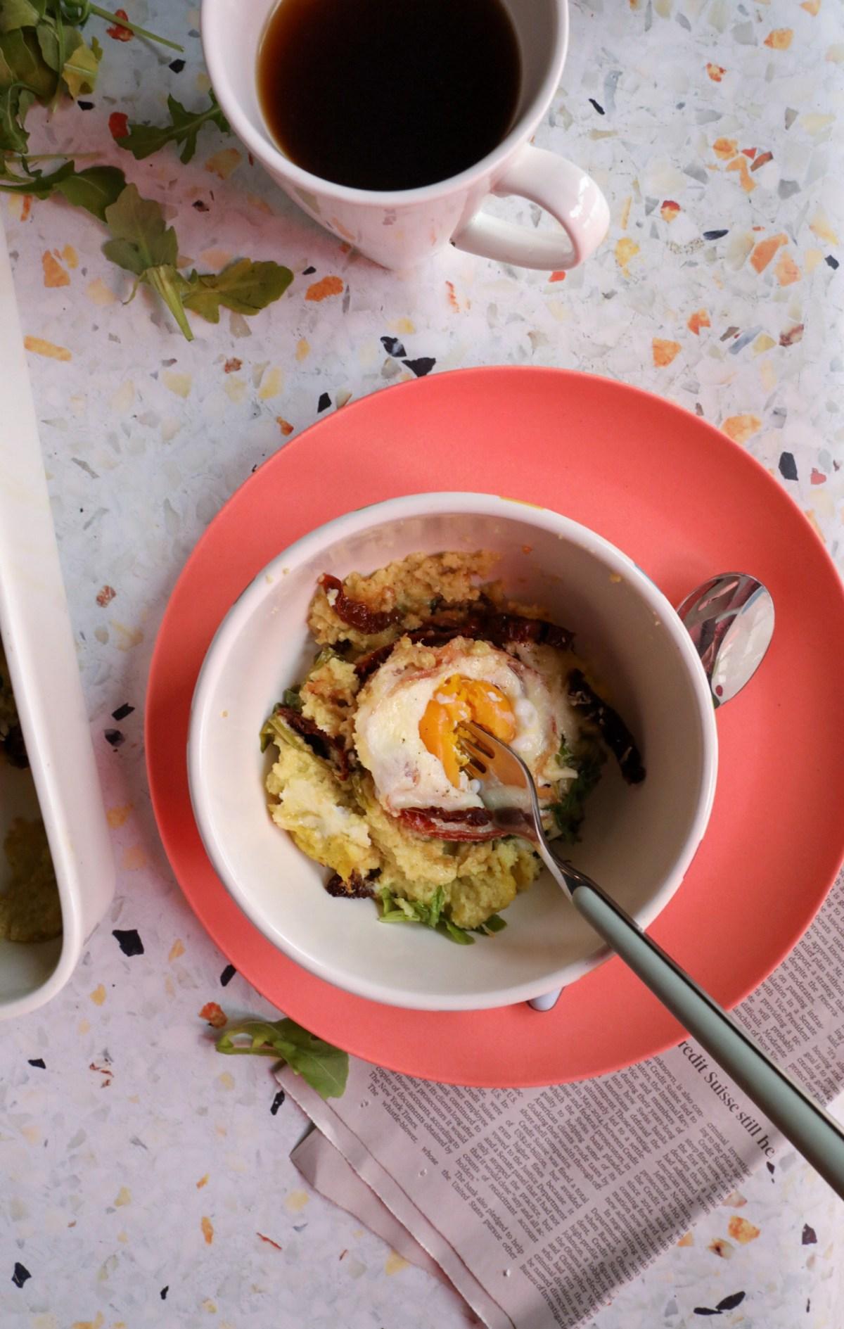 Basil, Sun-dried Tomato & Pancetta Polenta Breakfast Casserole | Taste and Tipple