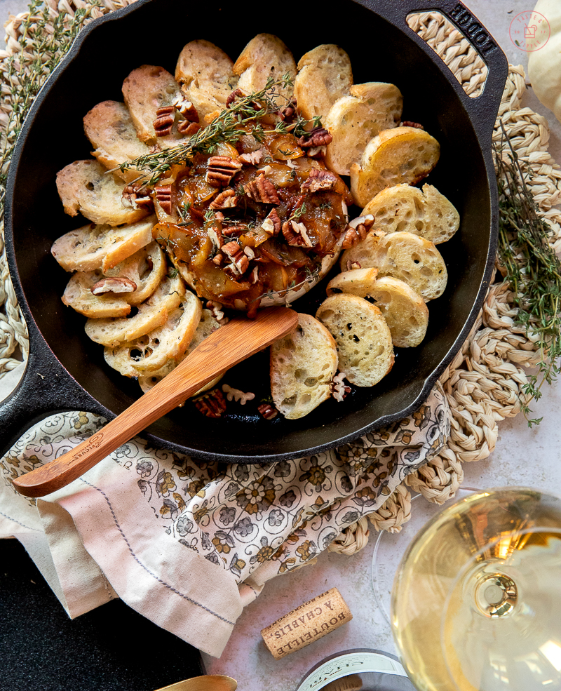 Baked Brie with Caramelized Pear | Taste and Tipple
