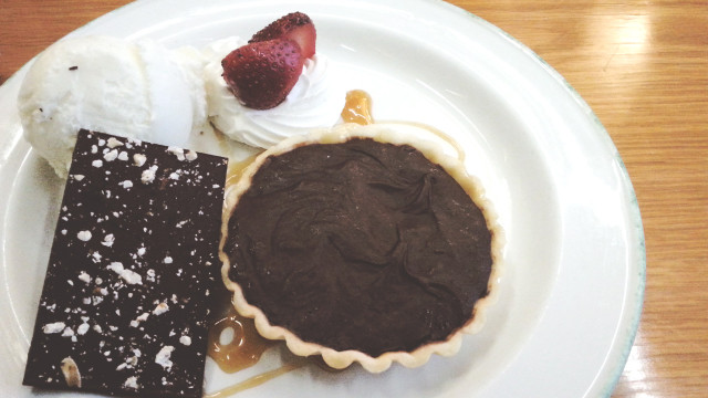 Salted Caramel Chocolate Tart and Toasted Walnuts at Greenstreet