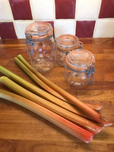 Rhubarb ready to be made into rhubarb cordial