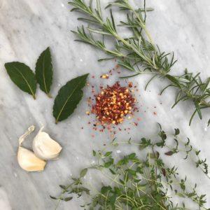 Herbs and garlic