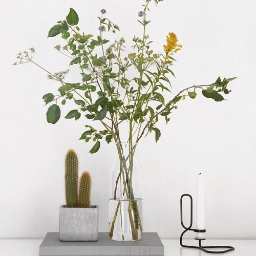 Moderne minimalistische Sommerdeko mit Blumenstrauß. Tasteboykott Wohninspiration.
