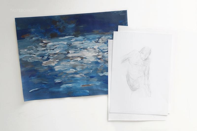 Malerei Wasser abstarkt blau, Zeichnung Bleistift Kunst. Tasteboykott.