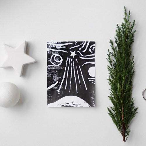DIY Weihnachtskarte Holzschnitt in schwarz-weiß