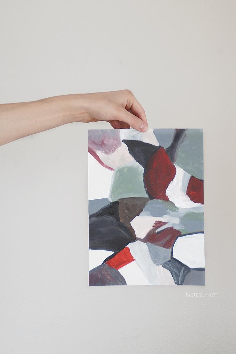 Moderne abstrakte Kunst/ Malerei mit geometrischen Formen in weiß, grau, rot. Tasteboykott.